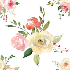 Tossed watercolor flower bouquet white