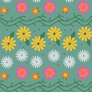 Summer Hippie Flowers / Aqua