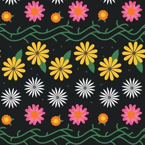 Summer Hippie Flowers / Black