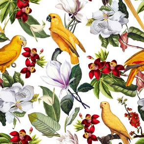 "18"" Yellow parrots and tropical flowers - white"