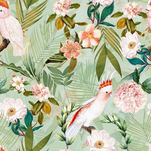 """12"""" Tropical cockatoo peonies and tropical leaves - mint"""