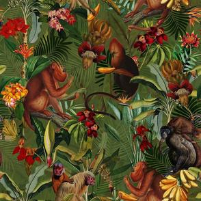 "18"" Monkeys Bananas Flowers Tropical Jungle Green"