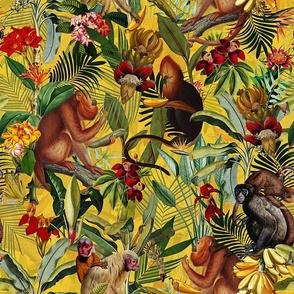 "18"" Monkeys Bananas Flowers Tropical Jungle Yellow"