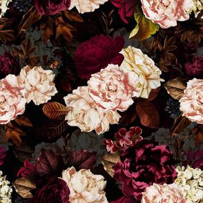 "18"" Moody Florals by UtART - Mystic Dutch Night - black"