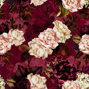 """18"""" Moody Florals by UtART - Mystic Dutch Night - red"""