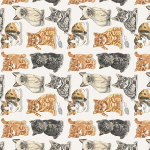 soft kitty watercolor on cream tea towel