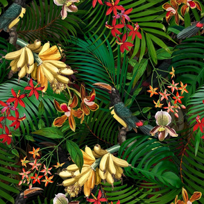 "18"" Tropical Night - Toucan in palm jungle with tropical flowers and bananas - black"