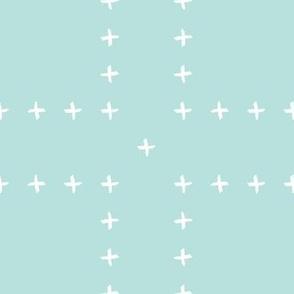 mudcloth freehand cross - mint