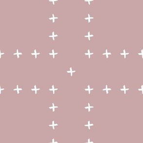 mudcloth freehand cross - dusty pink