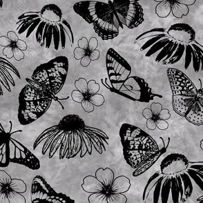 Black Butterflies on Gray Sunprint Texture