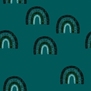 scattered teal + emerald linen rainbows on 126-16 // himalaya, deep sea, deep forest, fjord