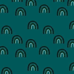small scattered teal + emerald linen rainbows on 126-16 // himalaya, deep sea, deep forest, fjord