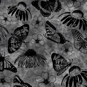 Black Echinaceas and Butterflies on Dark Gray Sunprint Texture