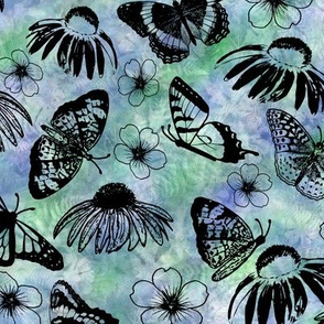 Black Butterflies on Blue Green Sunprint Texture