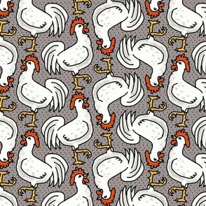 Happy White Roosters on Gray