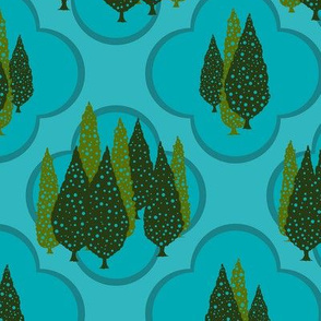 Cypresses in the Moonlight (Greens and Blues) 24inch repeat, David Rose Designs