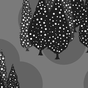 Cypresses in the Moonlight (Gray on Gray) 24inch repeat, David Rose Designs