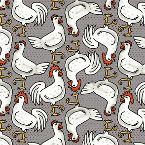 Happy White Hens and Roosters on Gray
