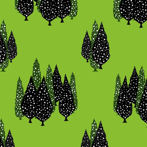 Cypresses in the Moonlight (Green) 24inch repeat, David Rose Designs