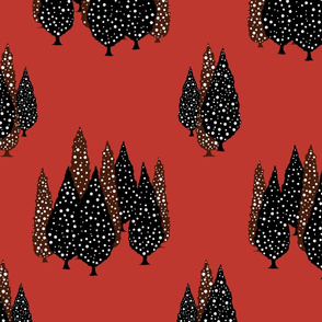 Cypresses in the Moonlight (Red) 24inch repeat, David Rose Designs