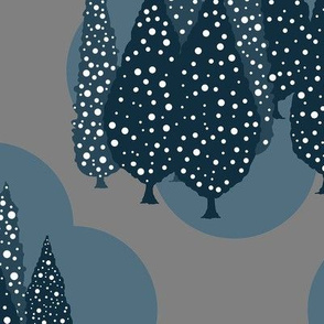 Cypresses in the Moonlight (Slate Blue and Gray) 24inch repeat, David Rose Designs