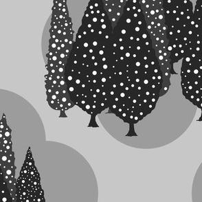 Cypresses in the Moonlight (Dark Gray on Medium Gray) 24inch repeat, David Rose Designs