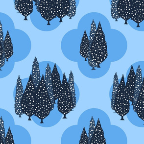 Cypresses in the Moonlight (Blue on Blue) 24inch repeat, David Rose Designs