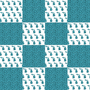 Michigan Teal Cheater Quilt