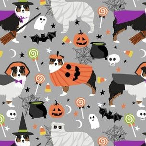 aussie dog halloween fabric - australian shepherd dog fabric,  australian shepherd halloween costume - black tri -  light grey
