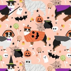 aussie dog halloween fabric - australian shepherd dog fabric,  australian shepherd halloween costume - black tri - light peach