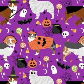 aussie dog halloween fabric - australian shepherd dog fabric,  australian shepherd halloween costume - mixed coats -  dark purple