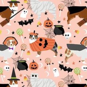 aussie dog halloween fabric - australian shepherd dog fabric,  australian shepherd halloween costume - mixed coats -  light peach