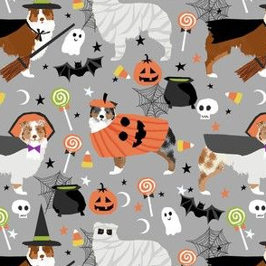 aussie dog halloween fabric - australian shepherd dog fabric,  australian shepherd halloween costume - mixed coats - grey