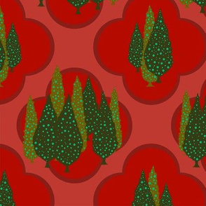 Cypresses in the Moonlight (Green on Red) 24inch repeat, David Rose Designs