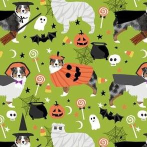 aussie dog halloween fabric - australian shepherd dog fabric,  australian shepherd halloween costume - blue merle - lime green