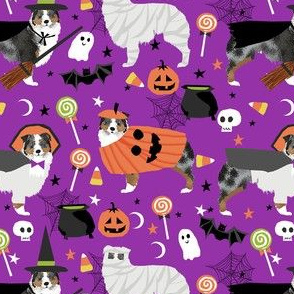 aussie dog halloween fabric - australian shepherd dog fabric,  australian shepherd halloween costume - blue merle - dark purple