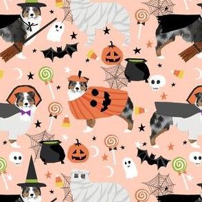 aussie dog halloween fabric - australian shepherd dog fabric,  australian shepherd halloween costume - blue merle - light peach