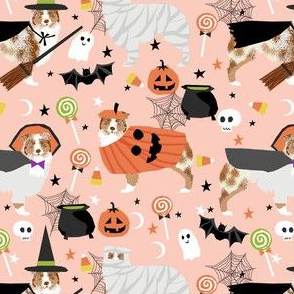 aussie dog halloween fabric - australian shepherd dog fabric,  australian shepherd halloween costume - red merle - light peach