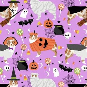 aussie dog halloween fabric - australian shepherd dog fabric,  australian shepherd halloween costume - red merle - lavender