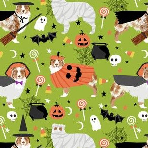 aussie dog halloween fabric - australian shepherd dog fabric,  australian shepherd halloween costume - red merle - lime green