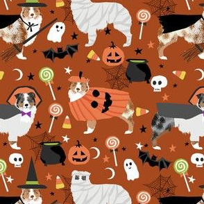 aussie dog halloween fabric - australian shepherd dog fabric,  australian shepherd halloween costume - blue and red merle - rust