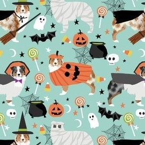 aussie dog halloween fabric - australian shepherd dog fabric,  australian shepherd halloween costume - blue and red merle - mint
