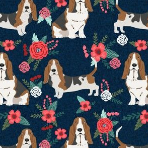 basset hound floral fabric - dog fabric, dog with flowers fabric - navy blue