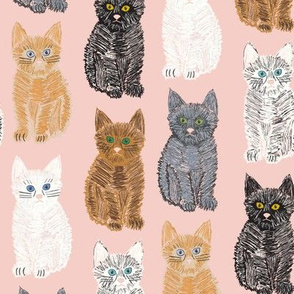 Scribble Kittens - Pink - Medium
