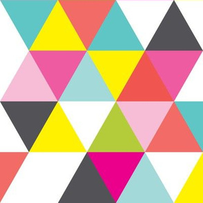 Geometric Triangle Wholecloth by Lizzie and Max | Pink, Aqua Blue, Yellow, Green, Charcoal Grey, White | LM101