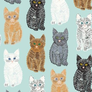 Scribble Kittens - Mint - Medium