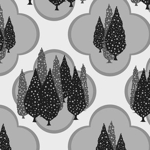 Cypresses in the Moonlight (Gray on Light Gray) 24inch repeat, David Rose Designs