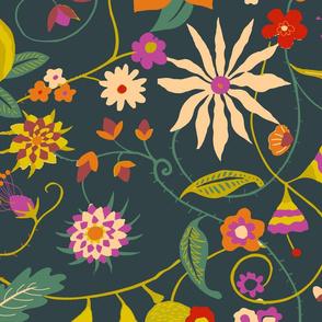 Floral ramage dark_ZZ191