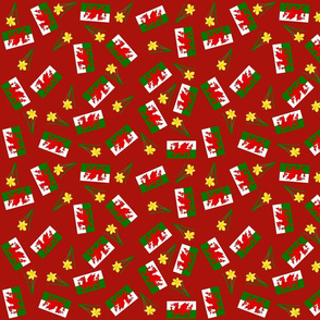 Welsh Flags red background