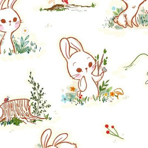 Woodland Bunnies - Larger Print